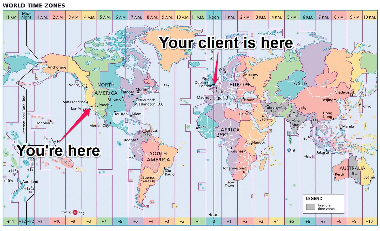 When taking the business on the road, consider time zones.
