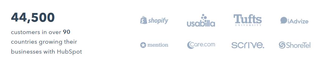 HubSpot provides notable clientele list in order to garner social proof.