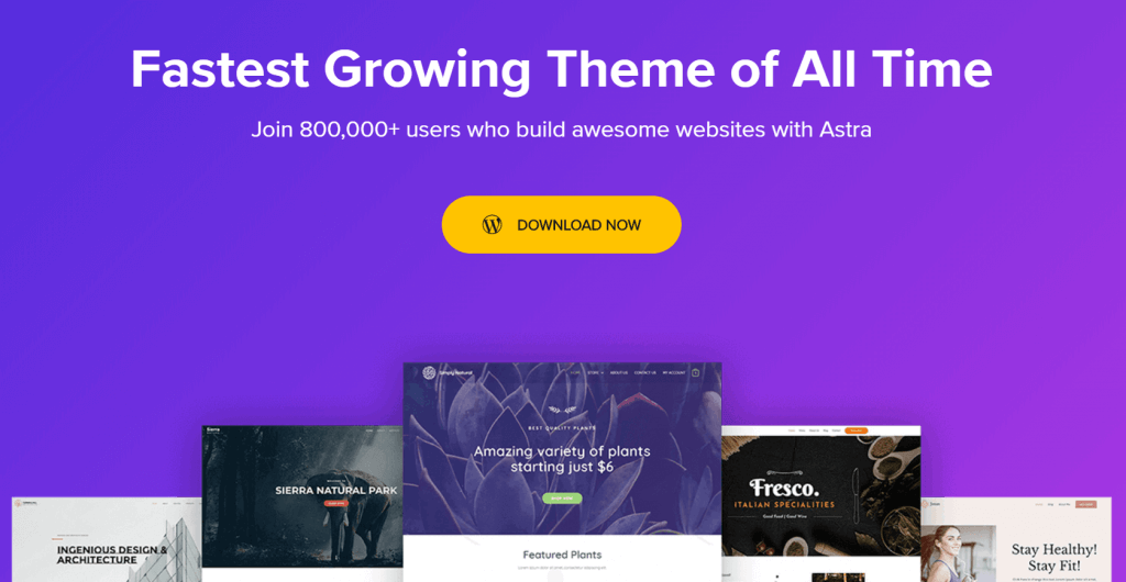 astra wordpress blog theme homepage
