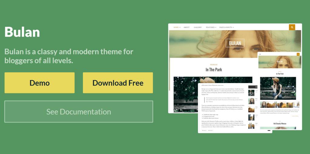 bulan blog theme homepage