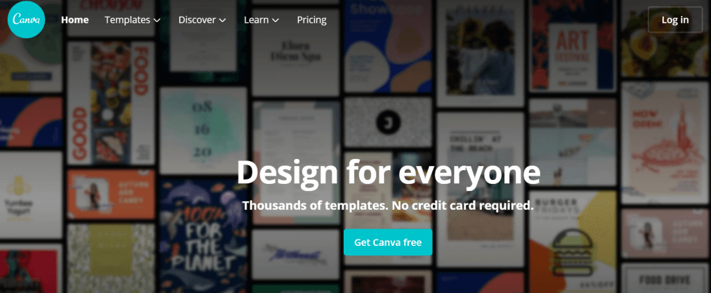 canva homepage