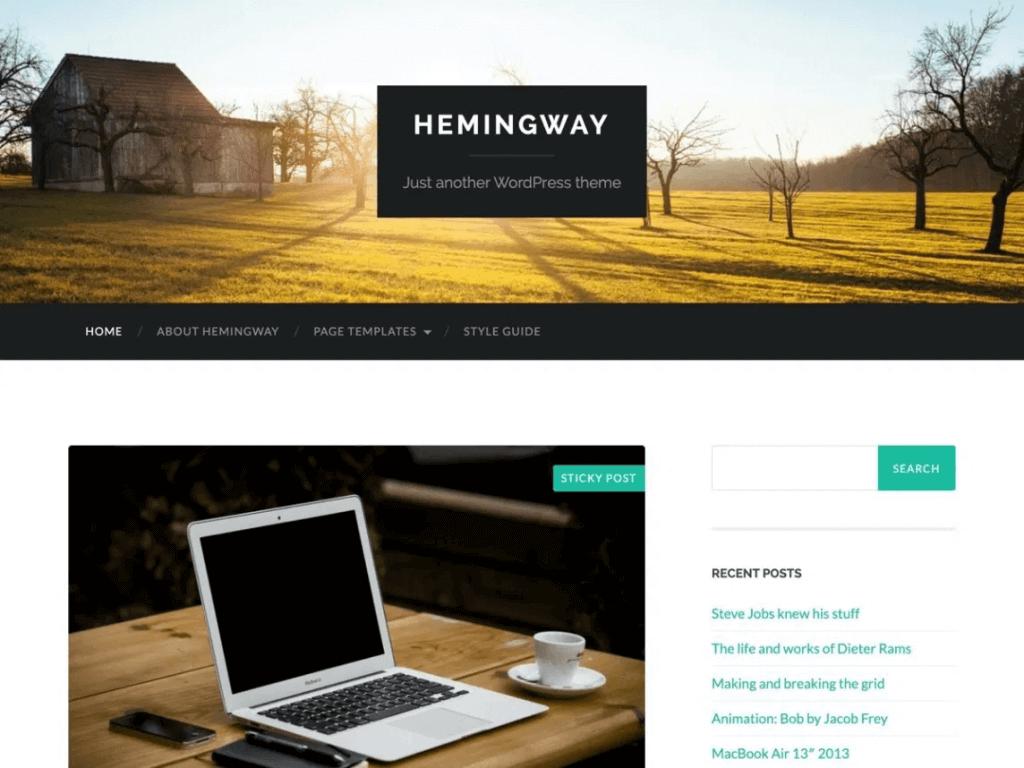 hemingway blog theme homepage