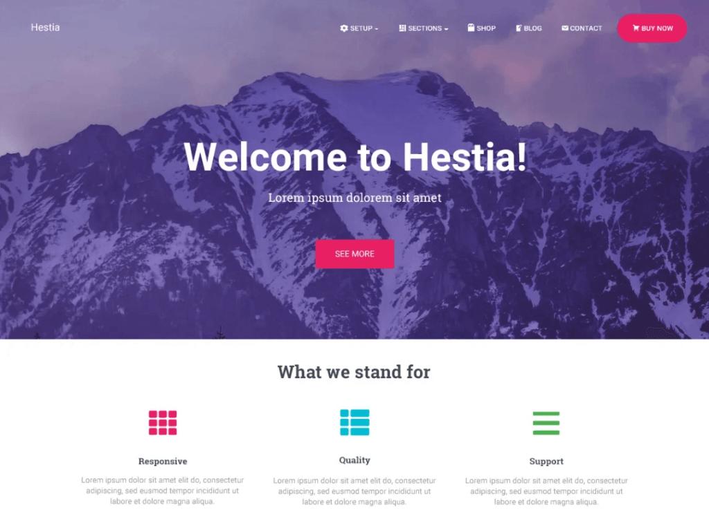 hestia blog theme homepage