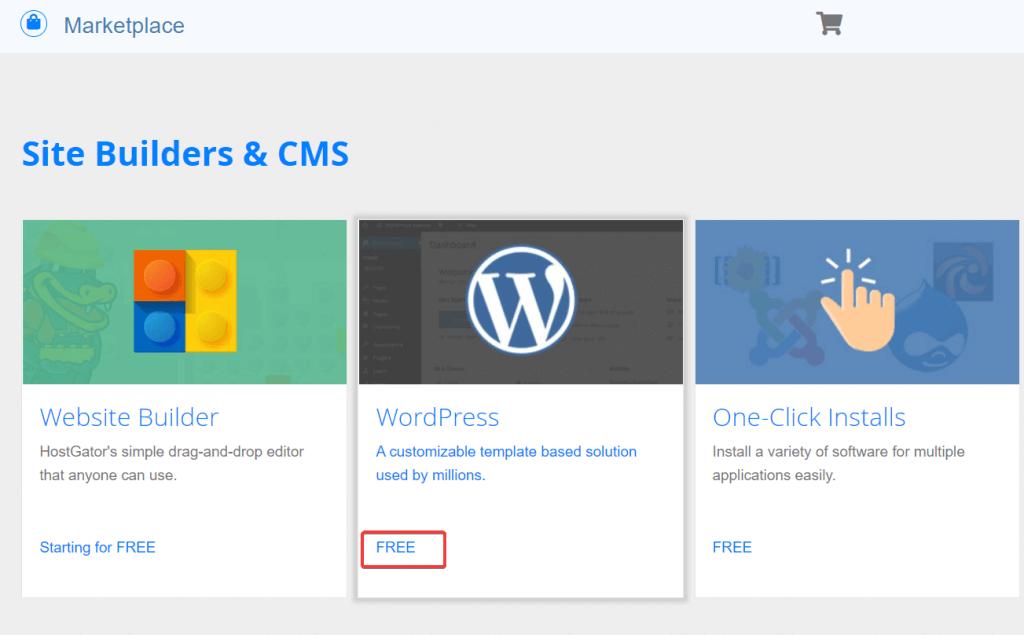 hostgator site builders wordpress