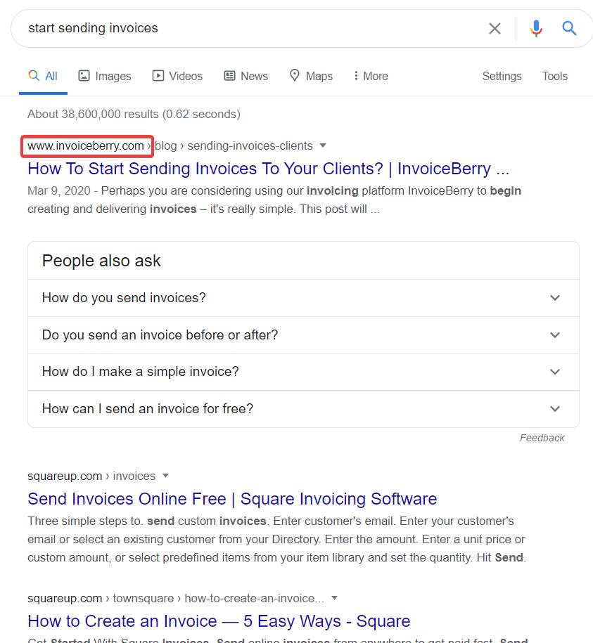 invoiceberry #1 result on google