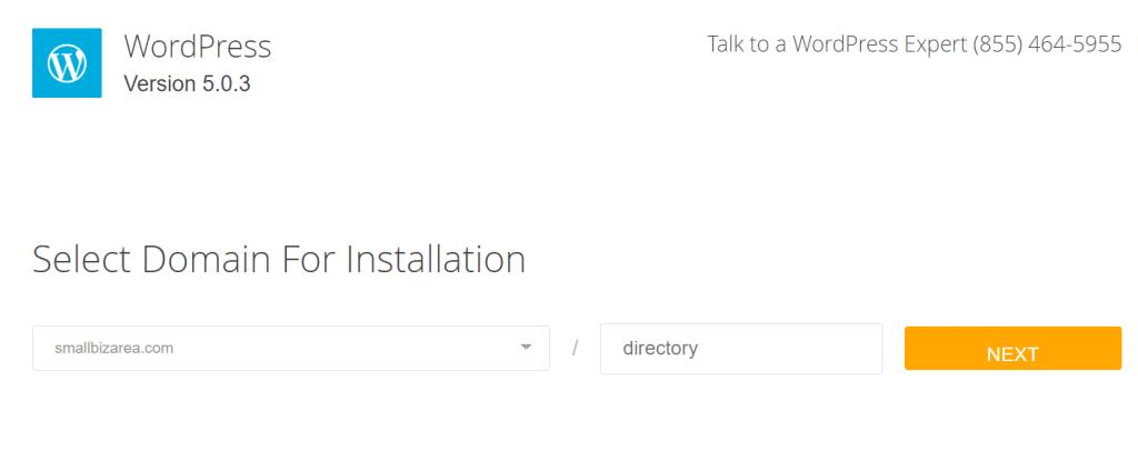hostgator select blog domain for installation