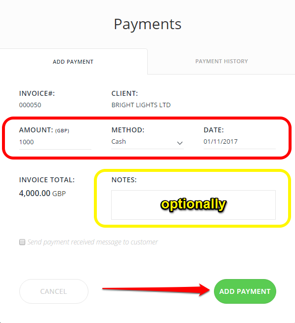 How Can I Add Payments To An Invoice Invoices Quotes InvoiceBerry - Payment details on invoice