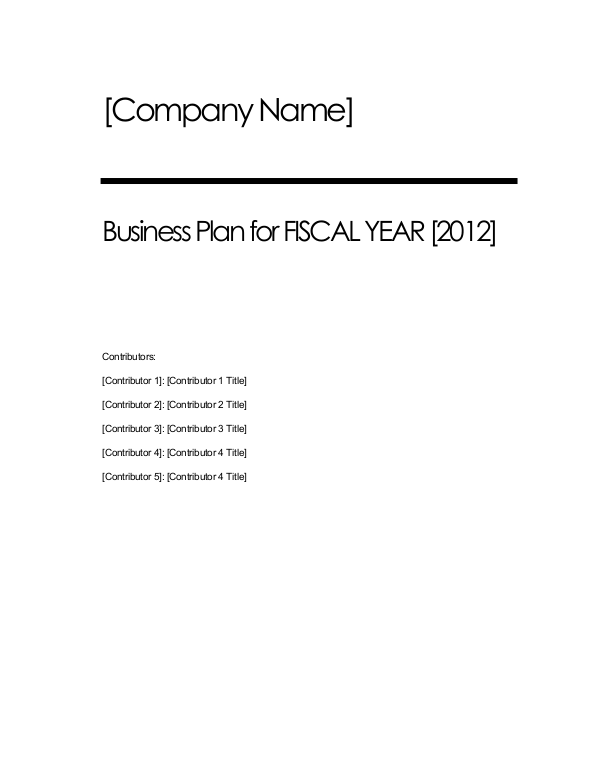 Business Plan Structure & Sample