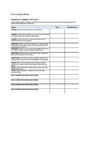 business plan checklist excel