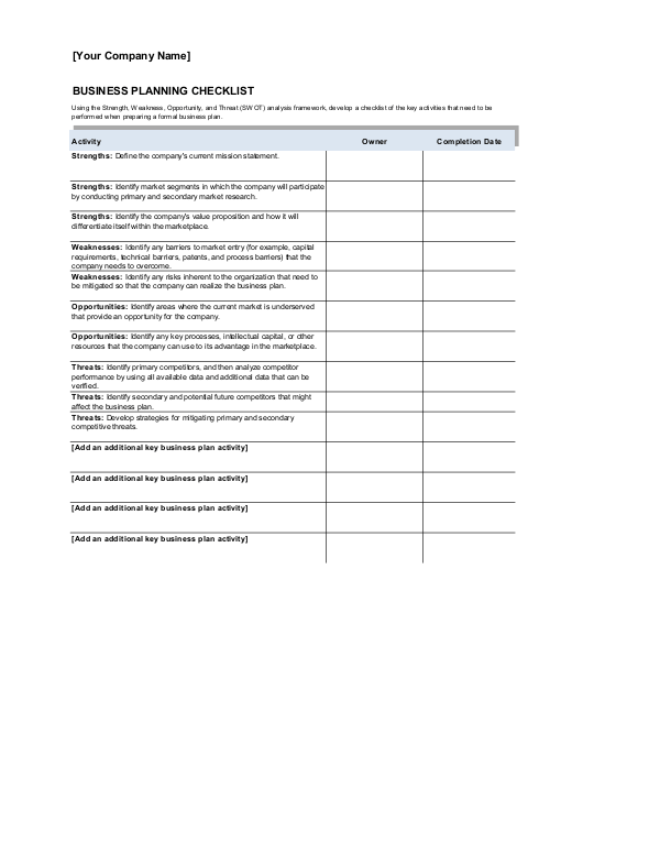 Business Plan Checklist  Checklist Template Word