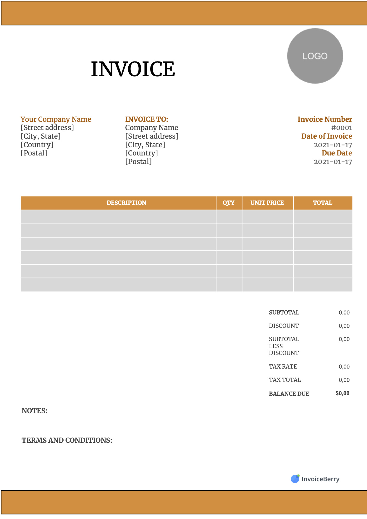Free Canada Invoice Templates For Contractors And Companies Invoiceberry
