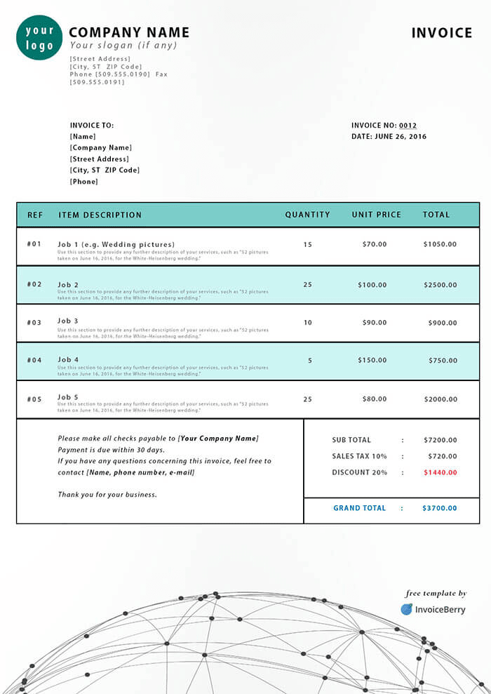 South Africa PDF Invoice Template