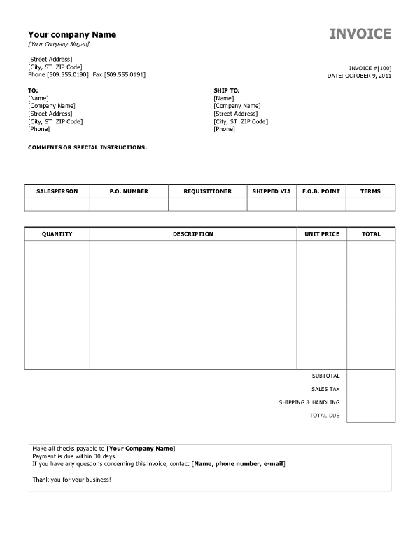 South Africa Word Invoice Template