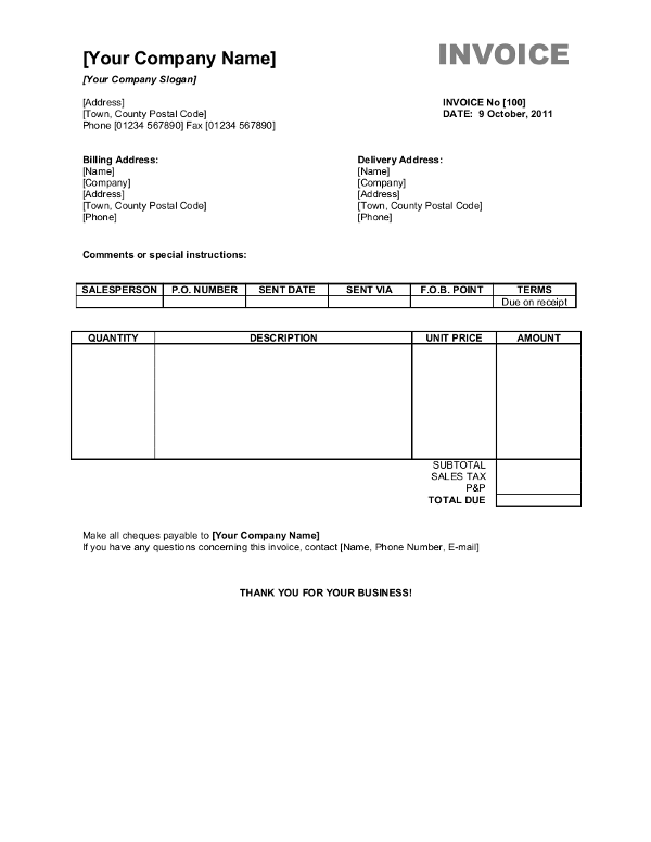 South Africa OpenOffice Invoice Template