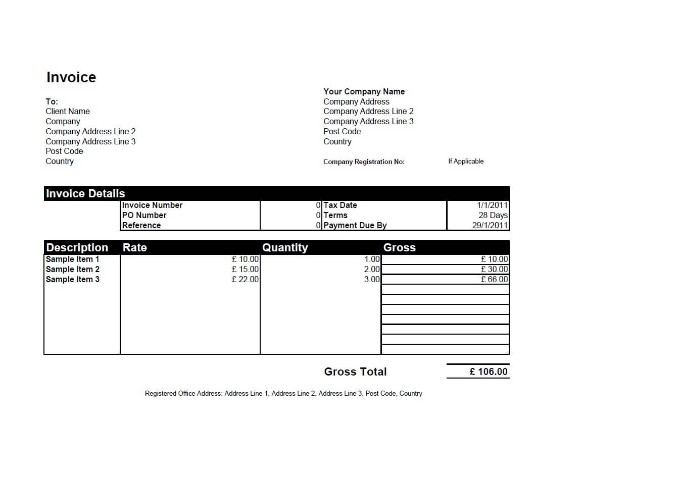 Free Invoice Templates For Word Excel Open Office – Sales Invoice Sample