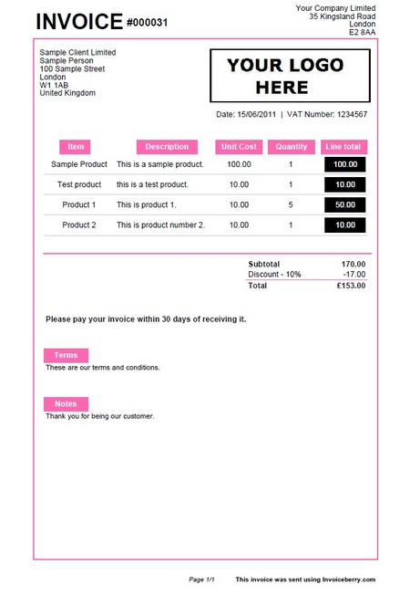 Sample Invoices Created With Our Online Invoicing Software - Online invoice format